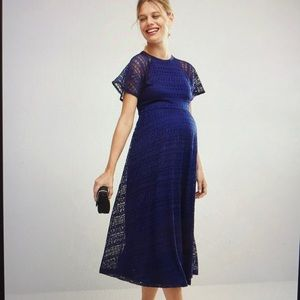 Asos blue lace maternity dress NWT